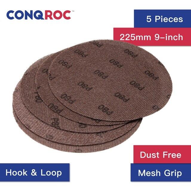 """Disques à poignée à mailles, 225mm, 9 """", sans poussière, ligne de grille Abrasive, disques de ponçage, crochet et boucle en papier sable, ponçage sec, 5 pièces"""