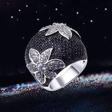 Кольцо с черным цветком и фианитом Ювелирное Украшение для вечеринки