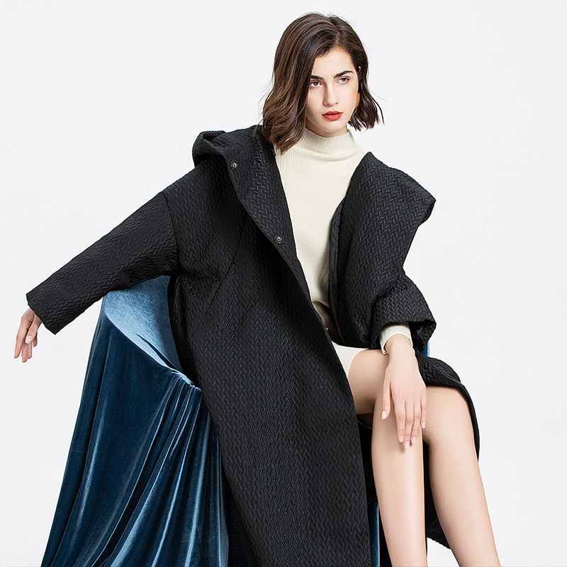 Shuchan Oversized   Down   Jackets Hooded Wide-waisted Covered Button Solid 90% White Duck   Down   Winter 2019 Women   Down     Coats