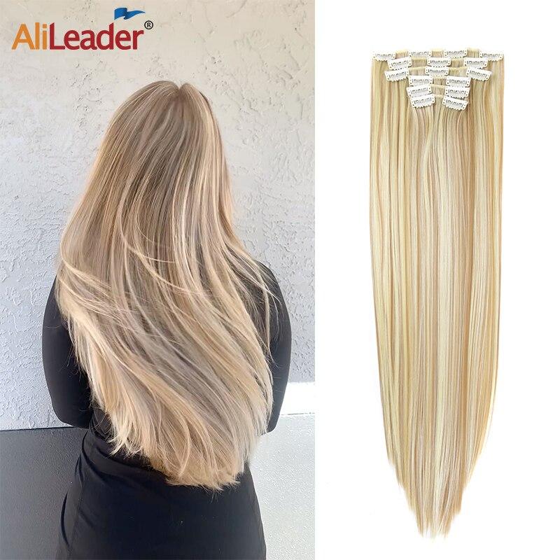 AliLeader 16 зажимов для наращивания волос, женские натуральные волосы для наращивания, искусственные волосы 16 цветов, 22 дюйма, синтетические вол...