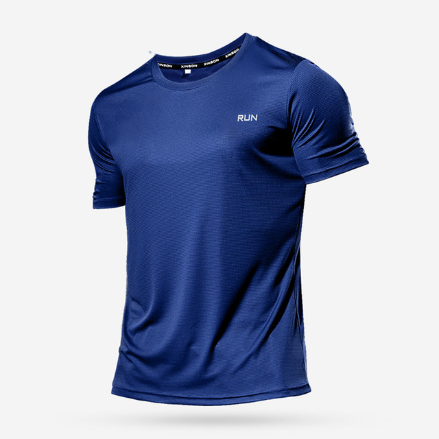 High Quality Polyester Men Running T Shirt Quick Dry Fitness Shirt Training Exercise Clothes Gym Sport Shirt Tops Lightweight