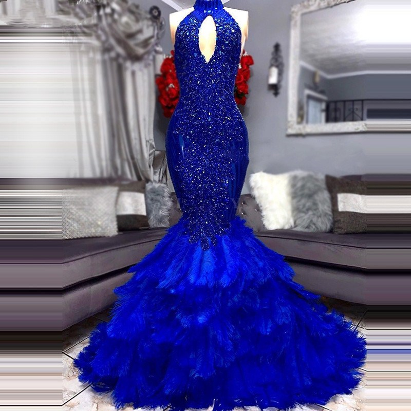 Royal Blue Mermaid   Prom     Dress   High Neck Feathers Applique Beaded Plus Size African Graduation Evening Gowns suknia wieczorowa