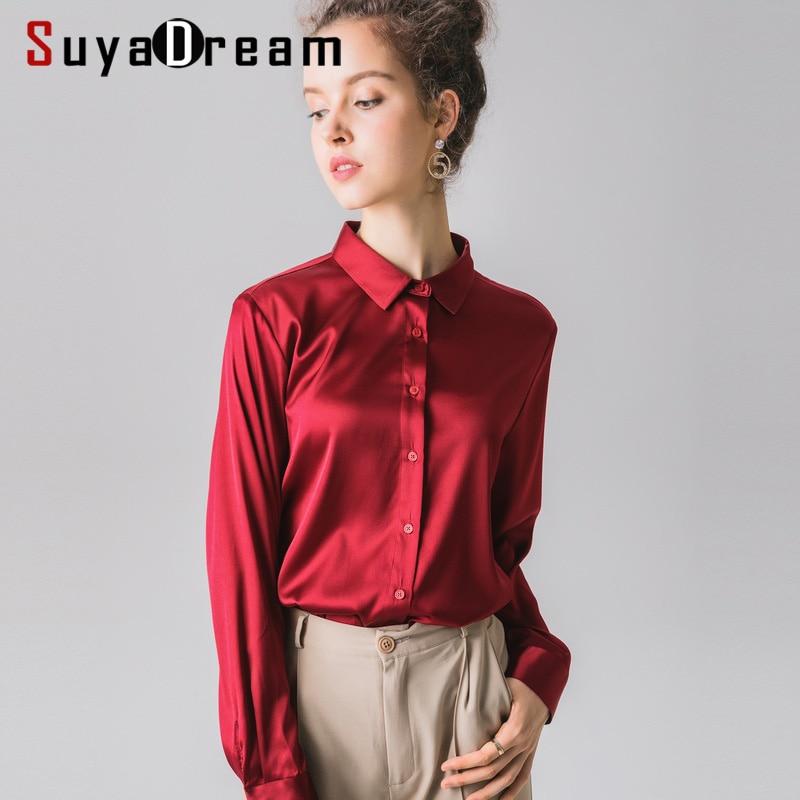 여성 블라우스 95% 실크 5% 스판덱스 실크 새틴 솔리드 버튼 블라우스 셔츠 긴팔 오피스 레이디 블라우스 2019 가을 겨울 셔츠