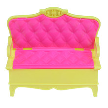 1/12 Dollhouse Sofa Miniature Deluxe Pink Plastic Sofa Chair For Doll Furniture Accessories Doll House Decoration(China)