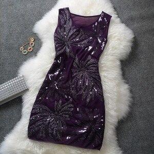 Image 5 - エレガントなヴィンテージセクシーなスパンコールプラスサイズ花女性黒青赤ショート格安カクテルドレスカクテル · パーティードレス