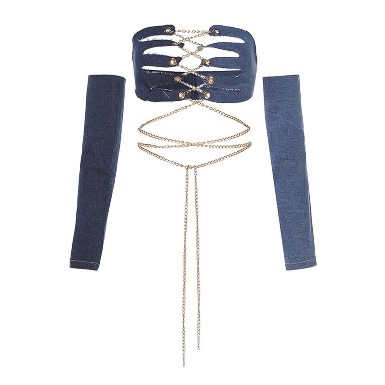 1Pc Off Shoulder Halter Vest Women Summer Vest Women's Chain Lace-up Sexy Low Corset Belt