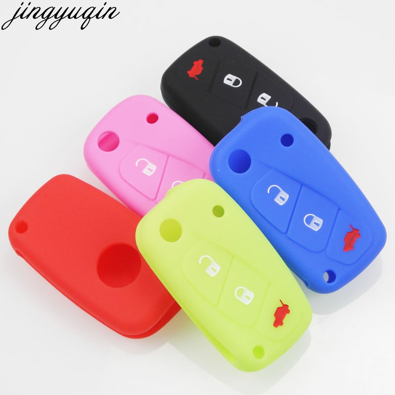 Silicone Key Protect Bag Flip Car Key Cover Case Fob 3 Button for FIAT 500 500L ABARTH Panda Punto Bravo red