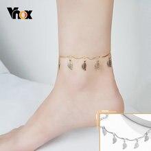 Амулетный ножной браслет vnox с листьями для женщин золотого