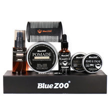 Blue ZOO Men Beard Kit Beard Oil Hair Wax Edge Control Styling Tool Balm Comb Moisturizing Wax Styling Moustache Kit Beard Care