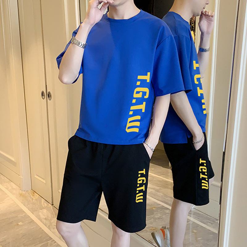 Summer Short-sleeved MEN'S Sport Suit Teenager Korean-style T-shirt Trend Middle School Students Casual Two-Piece Set Boy