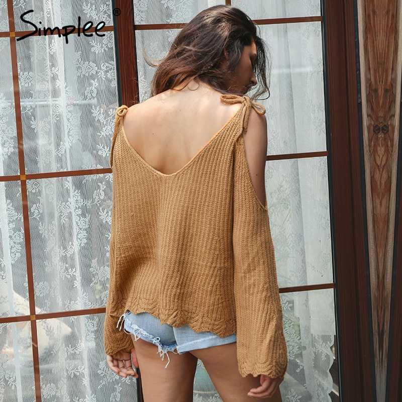 Simplee frío hombro corte suéter de punto de mujer Sexy v cuello Correa flare manga suelto para streetwear Jersey Mujer