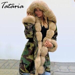 Image 2 - سترة نسائية من Tataria شتوية دافئة وسميكة بغطاء للرأس معاطف عسكرية للنساء جاكيت بياقة من الفرو الصناعي للنساء جاكيت من المخمل