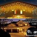 Рождество улица гирлянда на возраст от 4 до 12 лет м светодиодный сосулька Шторы огни постоянный яркий светодиодная гирлянда на открытом воз...