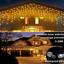 Guirlanda de rua de natal 4-12m led luzes da cortina de icicle constante brilhante luzes de fadas ao ar livre festa jardim janela casa decortion