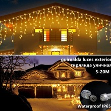 Christmas Street Garland 4-16M LED Icicle Curtain Lights Constant Bright Fairy Lights Outdoor Party Garden Window Home Decortion