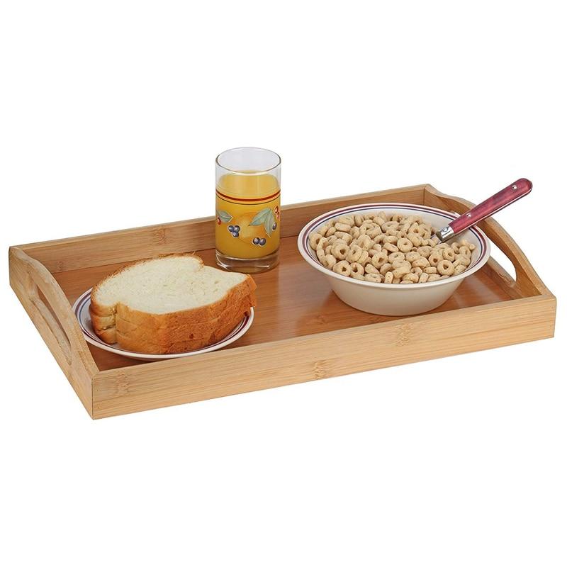 Поднос для сервировки бамбуковый-деревянный поднос с ручками-отлично подходит для обеденных подносов, чайных поддонов, поддонов для бара, поддонов для завтрака или любого поддона для еды-2