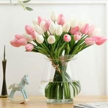 Casamento decorar 6 pçs beleza real toque flores látex tulipas flor artificial bouquet falso flor nupcial bouquet flores