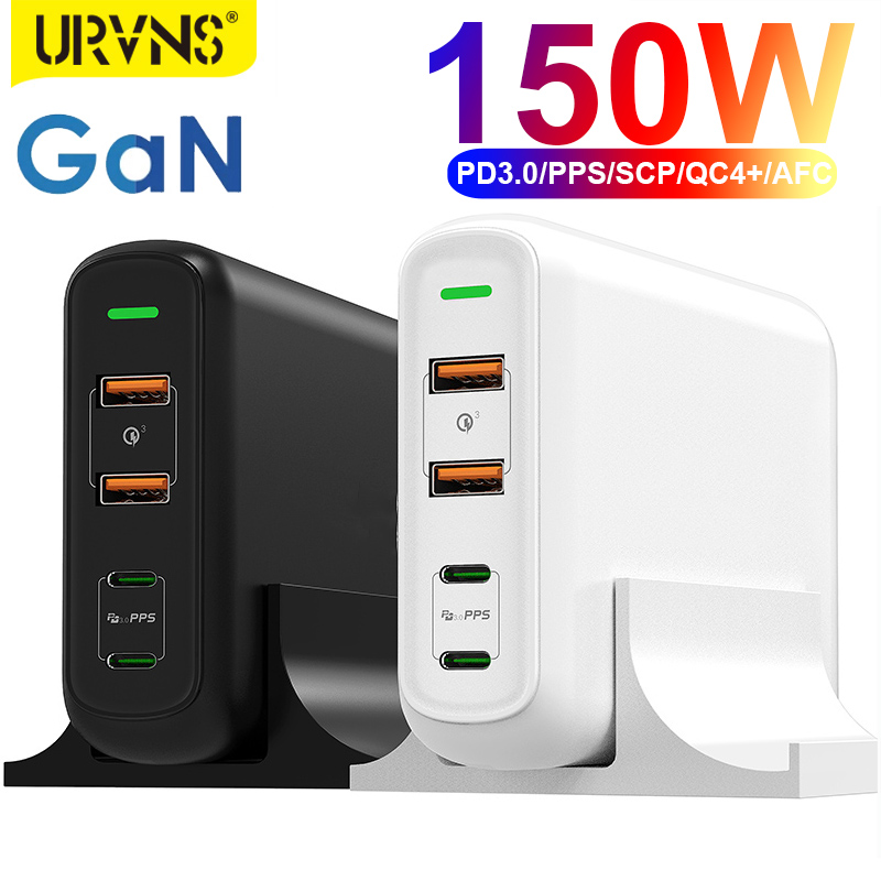 URVNS 150W PD QC 4.0 3.0 GaN USB C Charger with Dual Type C 100W PPS Fast Charging Power Adapter for MacBook Pro, Lenovo, iPhone