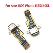 Para Asus ROG Phone II ZS660KL conector de base Micro USB cargador puerto de carga Flex Cable Tarjeta de micrófono