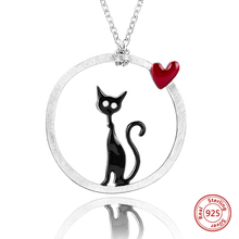 Strollgirl new 100% 925 Sterling Silver Cat Pendant Necklace with Color Enamel Necklace Woman Fashion Jewelry gift Free Shipping