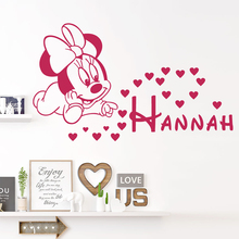 Cartoon Disney Minnie Mouse Love Wall Stickers For Home Decor Living Room Girls Nursery Poster Vinyl Mural Art Decals