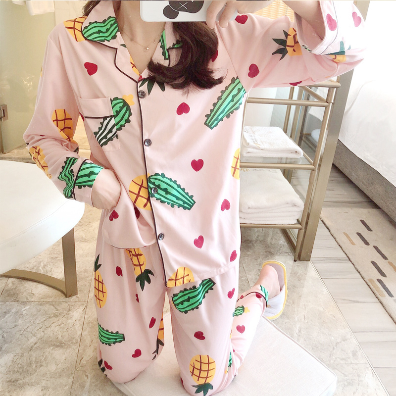Pink Cactus Womens Pajamas Set Turn-down Collar Cute Home Clothes Sleepwear Ladies