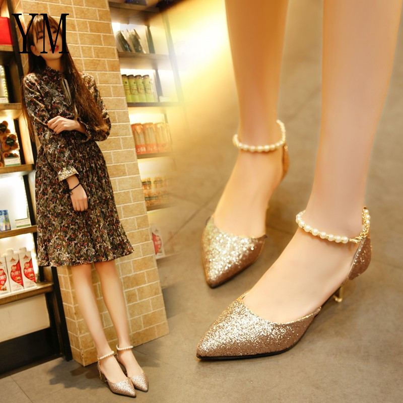 Sexy Pointed toe Pearl High heels shoes Female Fashion hollow with Sandals Paillette of the Thin Breathable shoes Women Pumps 3