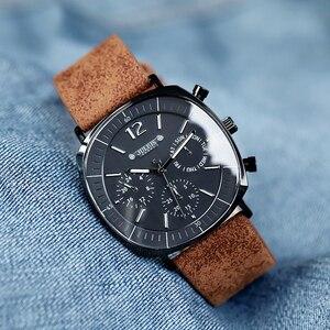 Image 5 - Montre de sport à Quartz suisse pour hommes, bracelet en cuir, étanche, avec horloge en acier inoxydable, nouveau calendrier, mode