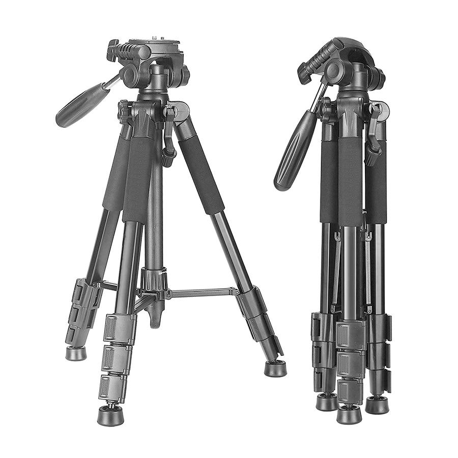 2021 New Camera Tripod Portable 56 inches/142cm Aluminum 3-Way Swivel Pan Head+Carrying Bag for Canon Nikon Sony DSLR Camera