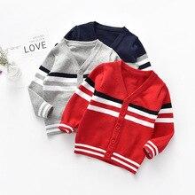 Sweater Coat Kniting Cardigan Boys Striped Winter Cotton New Autumn LZH Tops