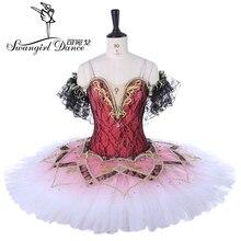 Dark Pink Women Swan Lake Professional Ballet Tutu dress Sleeping Beauty Stage Costume Dress For GirlsBT9278