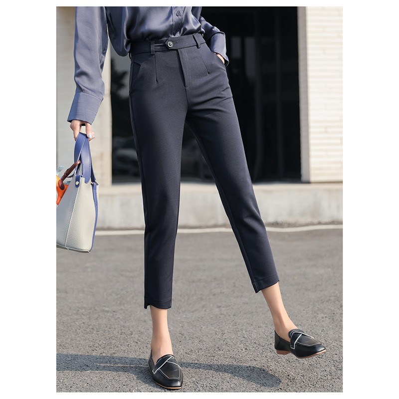 JUJULAND Trousers Women New Ankle-length Capris Female Leggings Pantalon Femme Workwear High Waist Elastic Casual Woman 9082