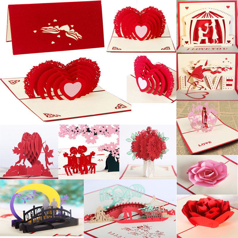 <font><b>12</b></font> Styles <font><b>3D</b></font> Pop Up Card Heart to Heart Anniversary Valentine Birthday Christmas Express love Valentine's Day <font><b>3D</b></font> Greeting Card image
