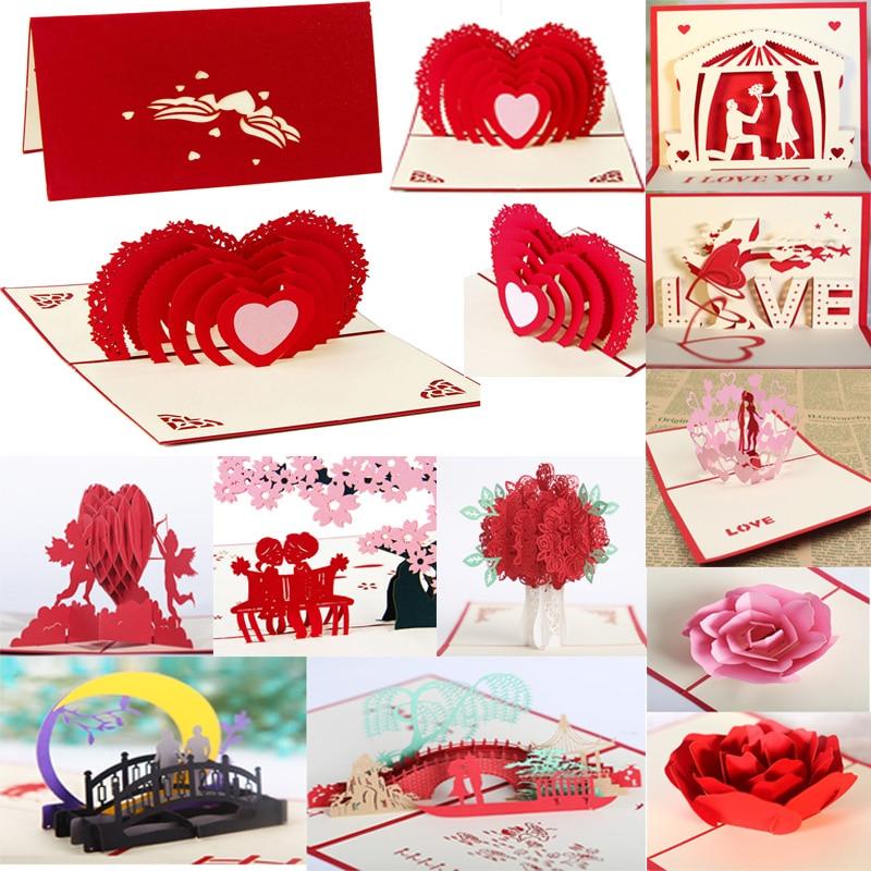 30 стилей 3D всплывающие карты сердце к сердцу годовщина день Святого Валентина Рождество Экспресс Любовь День Святого Валентина 3D поздравит...