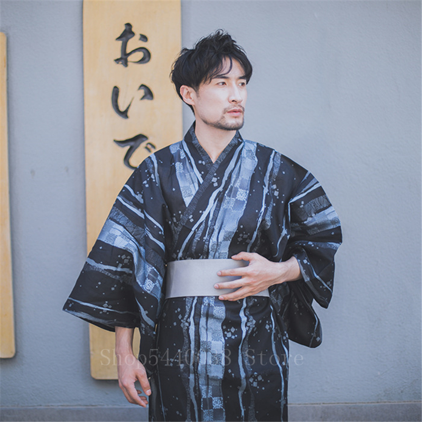 Men Traditional Japanese Kimono Yukata 11Colors Print Cotton Sauna Bathrobe Male Retro Leisure Pajamas Sleepwear Long Gowns