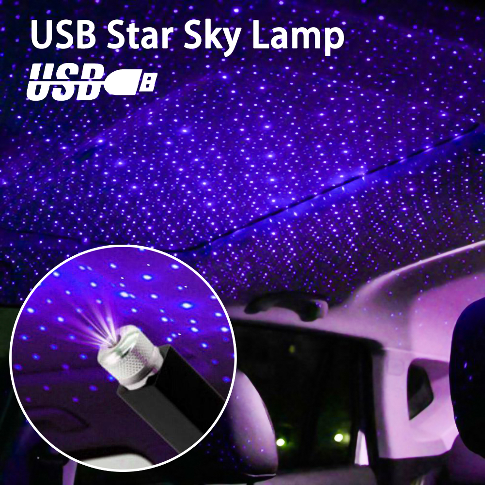USB Car Roof Atmosphere Star Sky Lamp Ambient Star Light LED Projector Purple Night Light Adjustable Multiple Lighting Effects