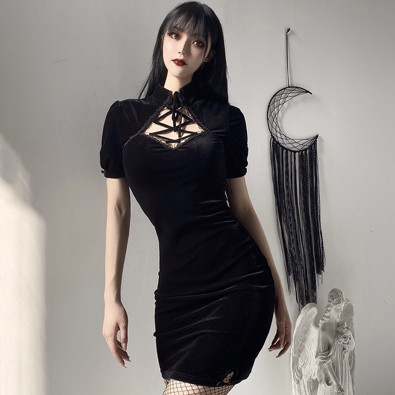 H590e0312b0e748a290aac58efadd5a2ey - InsGoth Retro Bandage Black Short Sleeve Mini Dress Women Gothic Streetwear Female Dress Elegent Vintage Party Dress