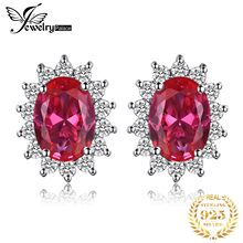 Luxury Brand Jewelry Kate Princess Diana Engagement Wedding 2.5ct Red Ruby Stud Earrings Lady Set Pure Solid 925 Sterling Silver
