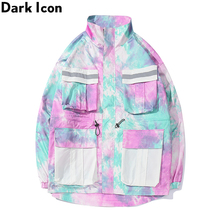 Dark Icon Tie Dye Multiple Pockets Cargo Jacket Men 3M Reflection Oversized Mens 4 Colors