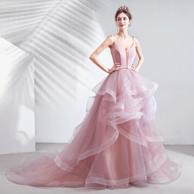 Sexy V Neck Robe De Soiree 2019 Evening Dress Long Prom Dresses Wedding A-Line Lace Flower Special Occasion Ball Gown OL103253(China)