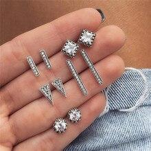 Luokey elegante simples geométrica brincos de declaração para as mulheres cor prata do vintage longo parafuso prisioneiro brinco feminino meninas moda jóias