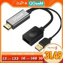 QGEEM HDMI DisplayPort 어댑터 4K HDMI DP 케이블 HDTV 어댑터 변환기 남성 여성 지원 1080P HDTV HDMI DP