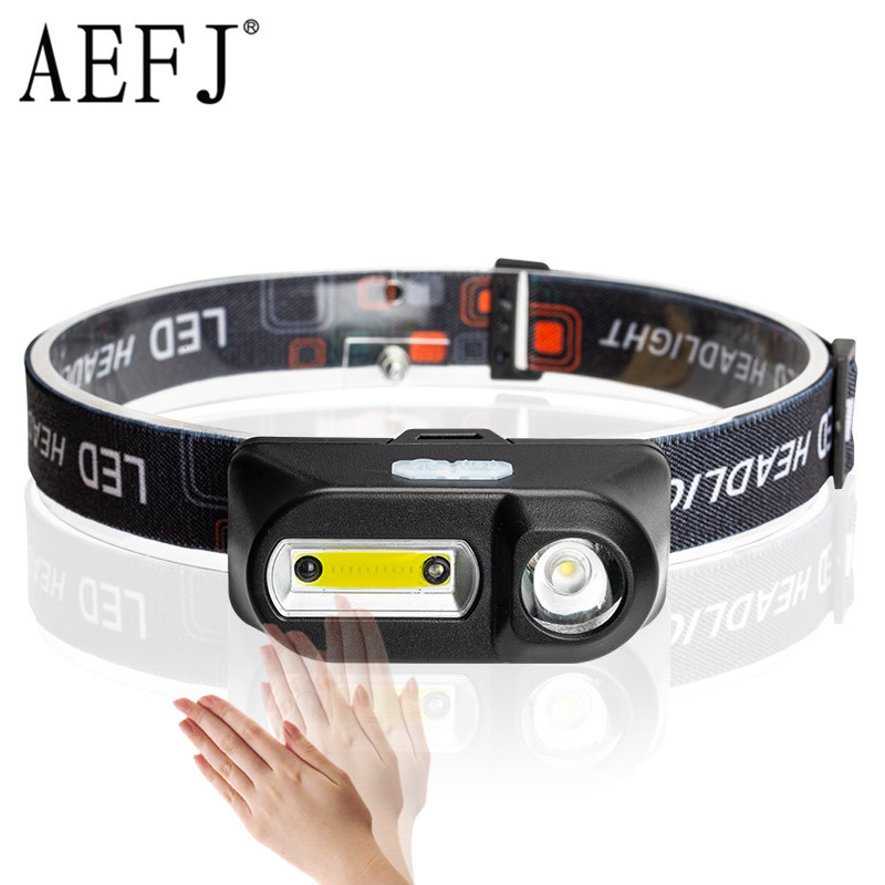 LED Headlamp XPE+COB Headlight IR Motion Sensor Head Lamp Flashlight USB Rechargeable 18650 Torch Camping Runing Fishing Light