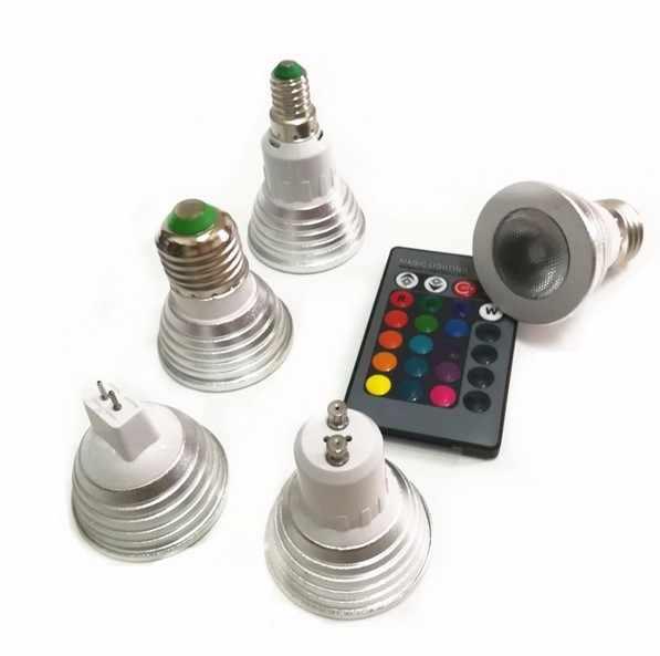 E27 E14 GU10 GU5.3 MR16 RGB LED Spot Ampoule 3W Couleur Changer Télécommande R