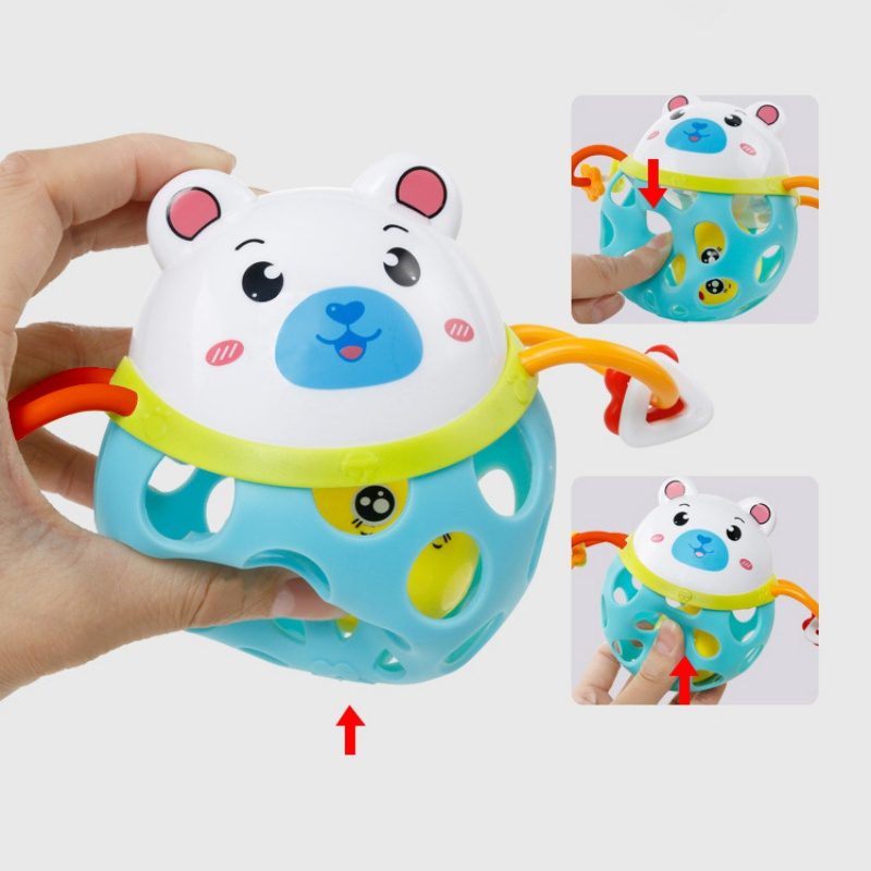 Safety Infant Baby Boys Girls Soft Plastic Hollow Rattle Cute Cartoon Bear Tiger Frog Shape Teethers Ball Educational Toy Gift