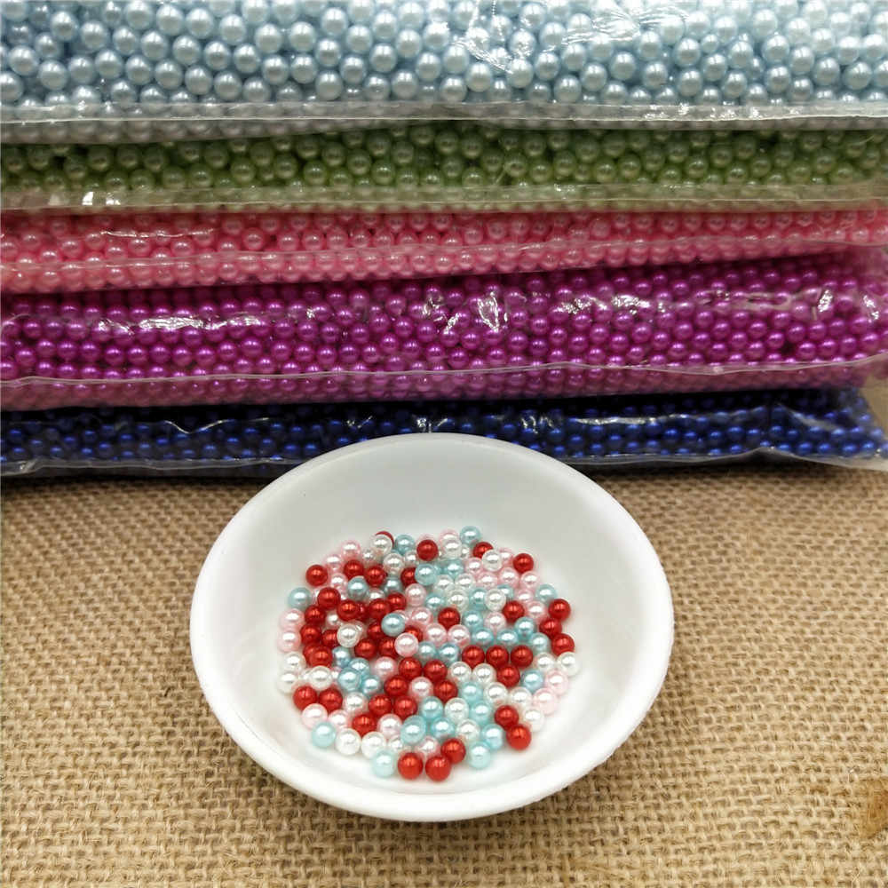 Wholesale Straight Holes Acrylic Imitation Pearl Round Beads DIY Jewelry Making