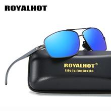 RoyalHot Polarized Sunglasses Men Women  Rectangle Aloly Frame Sun Glasses Driving Shades Oculos masculino Male 90091