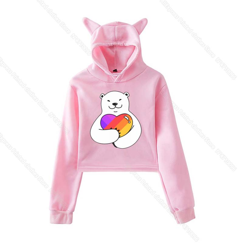 Girls Pink Cat Ear LIKEE Hoodies Cat Crop Top Likee App Hoodie Women Cartoon Unicorn Fox Sweatshirt Female Harajuku Streetwear 14