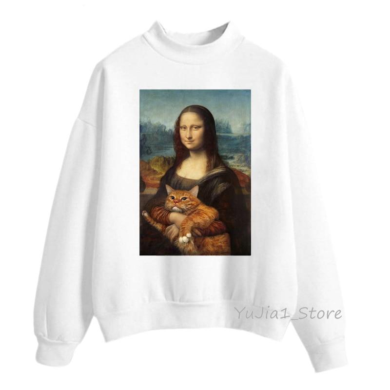 Mona Lisa And Her Cat Animal Print Hoodies Women Harajuku Sweatshirt Winter Clothes Casual Long-sleeved Tracksuit Streetwear