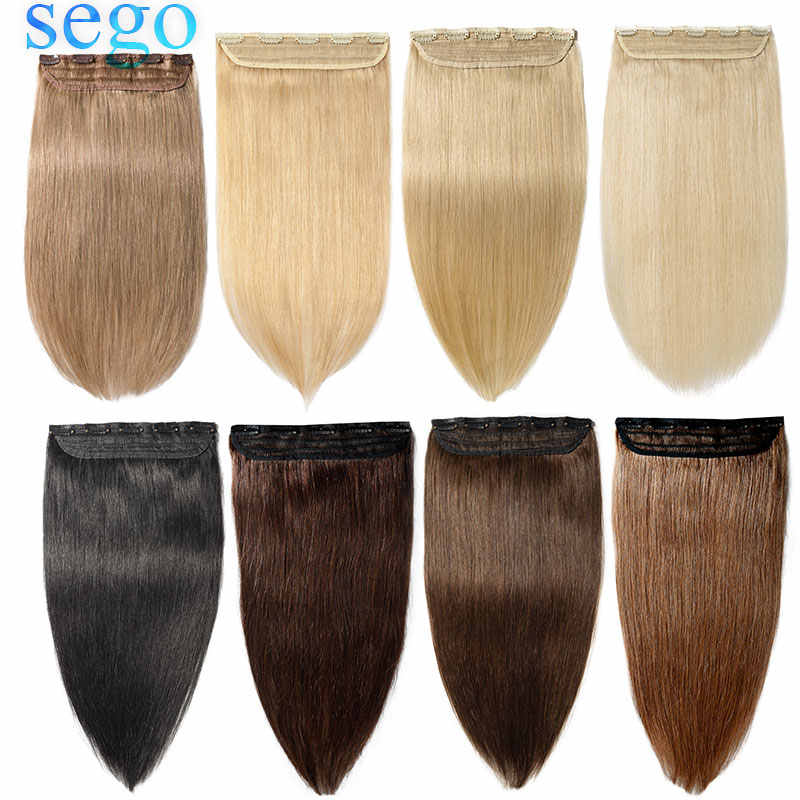 "SEGO 16""-22"" 80G-100G Clip In One Piece 100% Real Human Hair Extension 1p/w 5 clips Non-Remy Hair Piece Straight Brazilian"